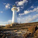 Beaconlit, Woollongong Inner Harbour Lighthouse, Twilight in Spring by Gayan Benedict