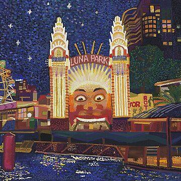 Luna Park at night by tobycentreart