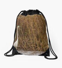 Great egret Drawstring Bag