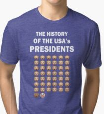 The History of The USA Presidents Emoji Style Tri-blend T-Shirt