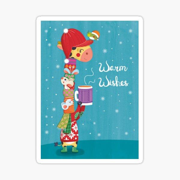 Christmas giraffe greetings Sticker
