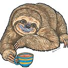 Coffee Sloth by Lynda Bell