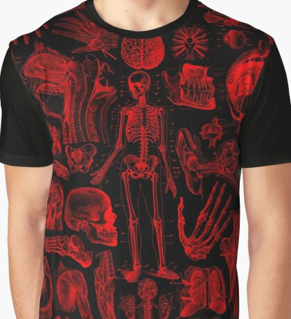 Black and Red Human Anatomy Print Graphic T-Shirt