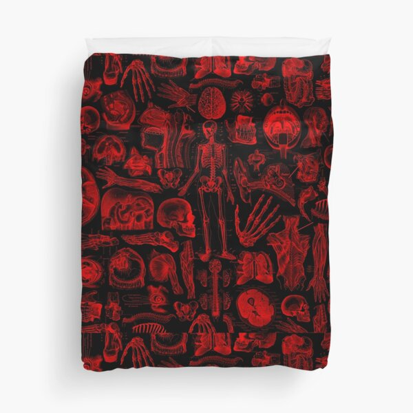 Black and Red Human Anatomy Print Duvet Cover