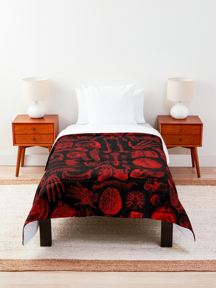 Alternate view of Black and Red Human Anatomy Print Comforter