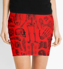 Red Human Anatomy Print Mini Skirt
