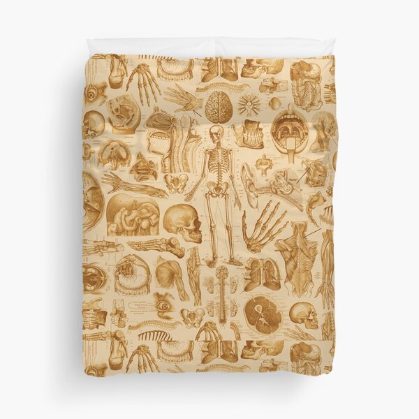 Human Anatomy Tan Print Duvet Cover