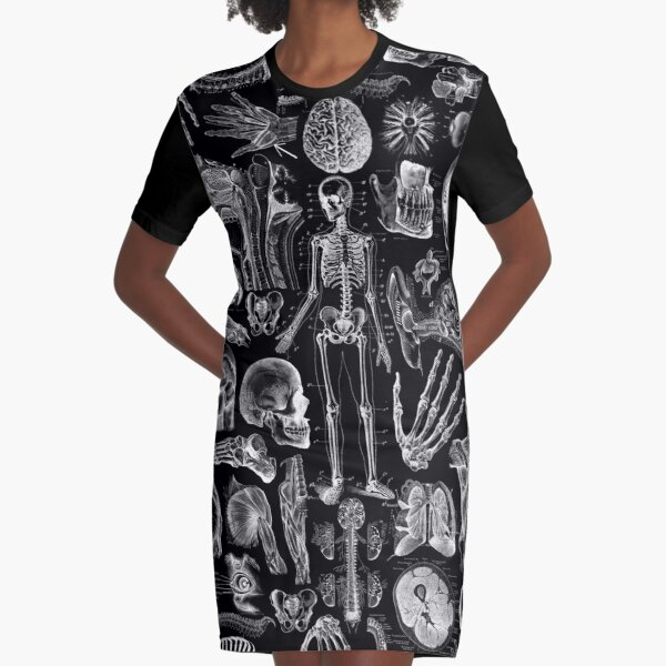 Human Anatomy Black Print Graphic T-Shirt Dress