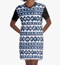 Blue Xmas Graphic T-Shirt Dress