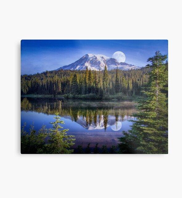 Moon Rise Over Mt. Rainier by Kathy Weaver