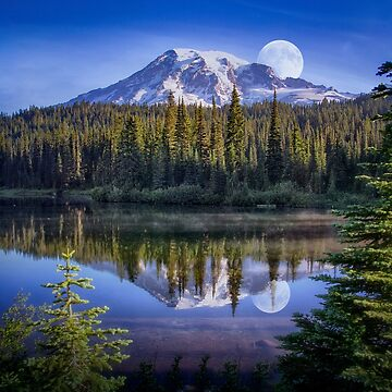 Moon Rise Over Mt. Rainier by kdxweaver