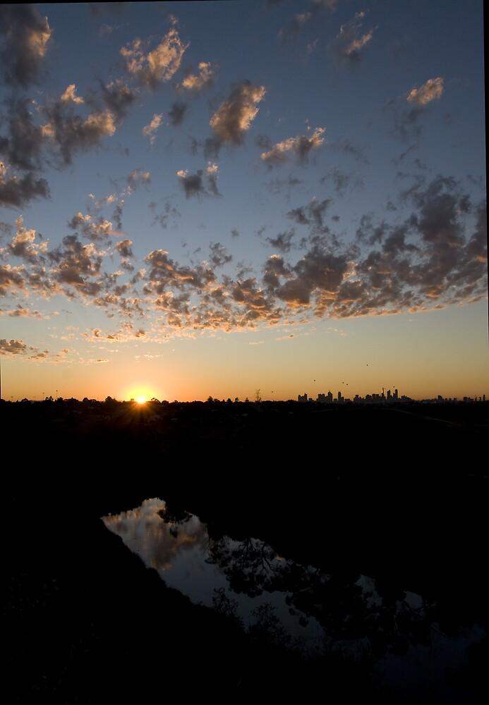 sunrise - maribyrnong river by david de roach