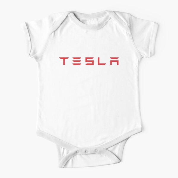 Tesla Logo with Model 3 Emblem Short Sleeve Baby One-Piece