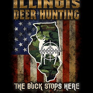 Illinois Deer Hunter American Flag Deer Hunting Gifts American Hunting Apparel by vince58