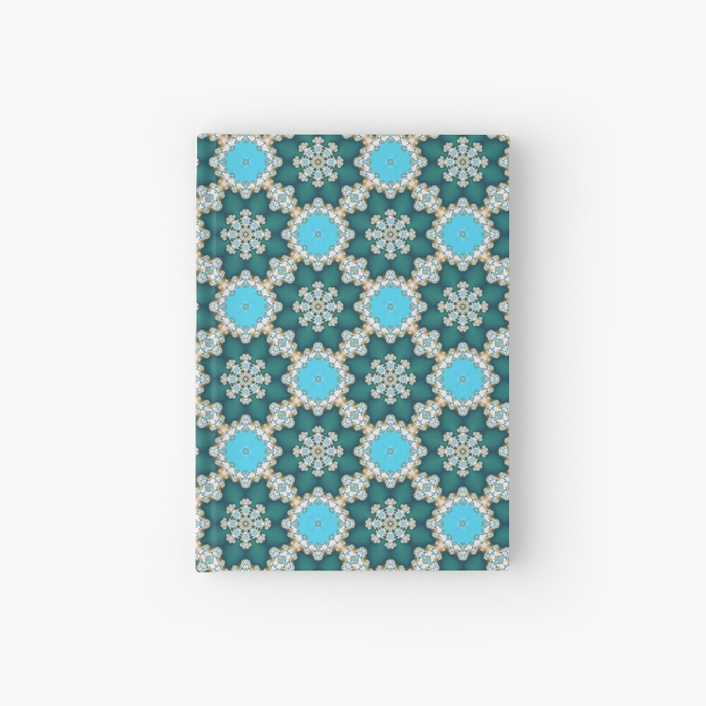 Blue fractal ornament Hardcover Journal
