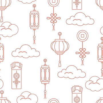 Chinese lanterns, money envelopes, coin, clouds. by aquamarine-p