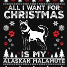 Merry Christmas Alaskan Malamute Dog Lover Gift by BBPDesigns