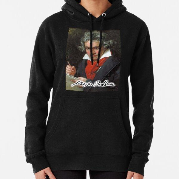 Ludwig van Beethoven, German composer and pianist. Portrait, on Black. Pullover Hoodie