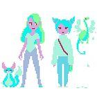 Girls pixel art by Sev4