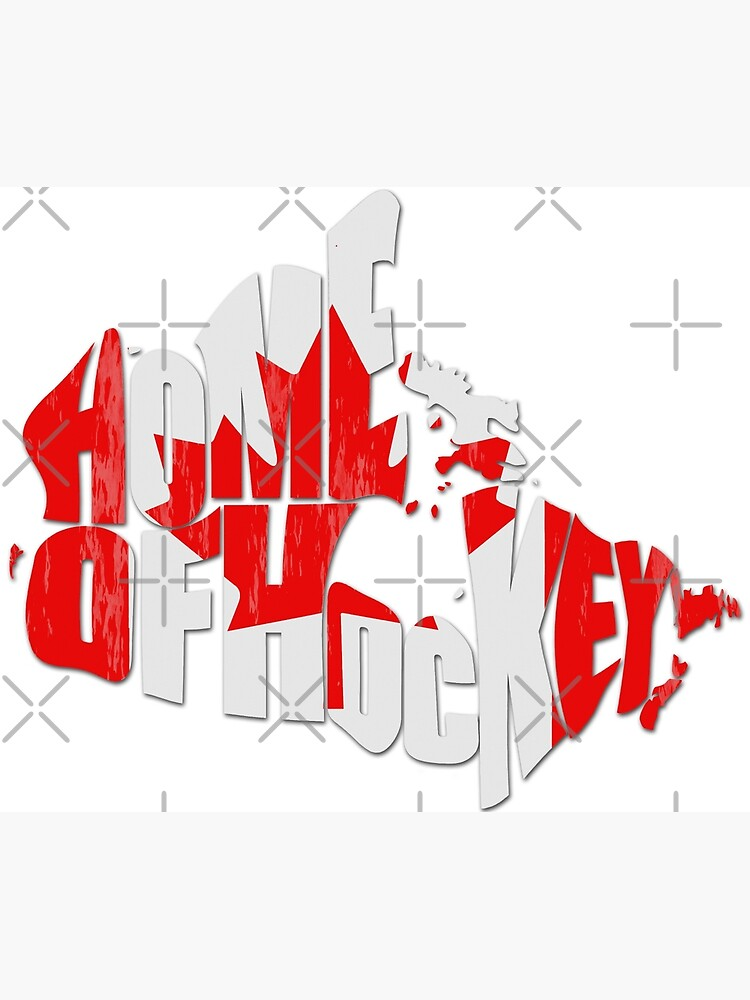 Canada Home of Hockey, Typographic Canadian Flag Map