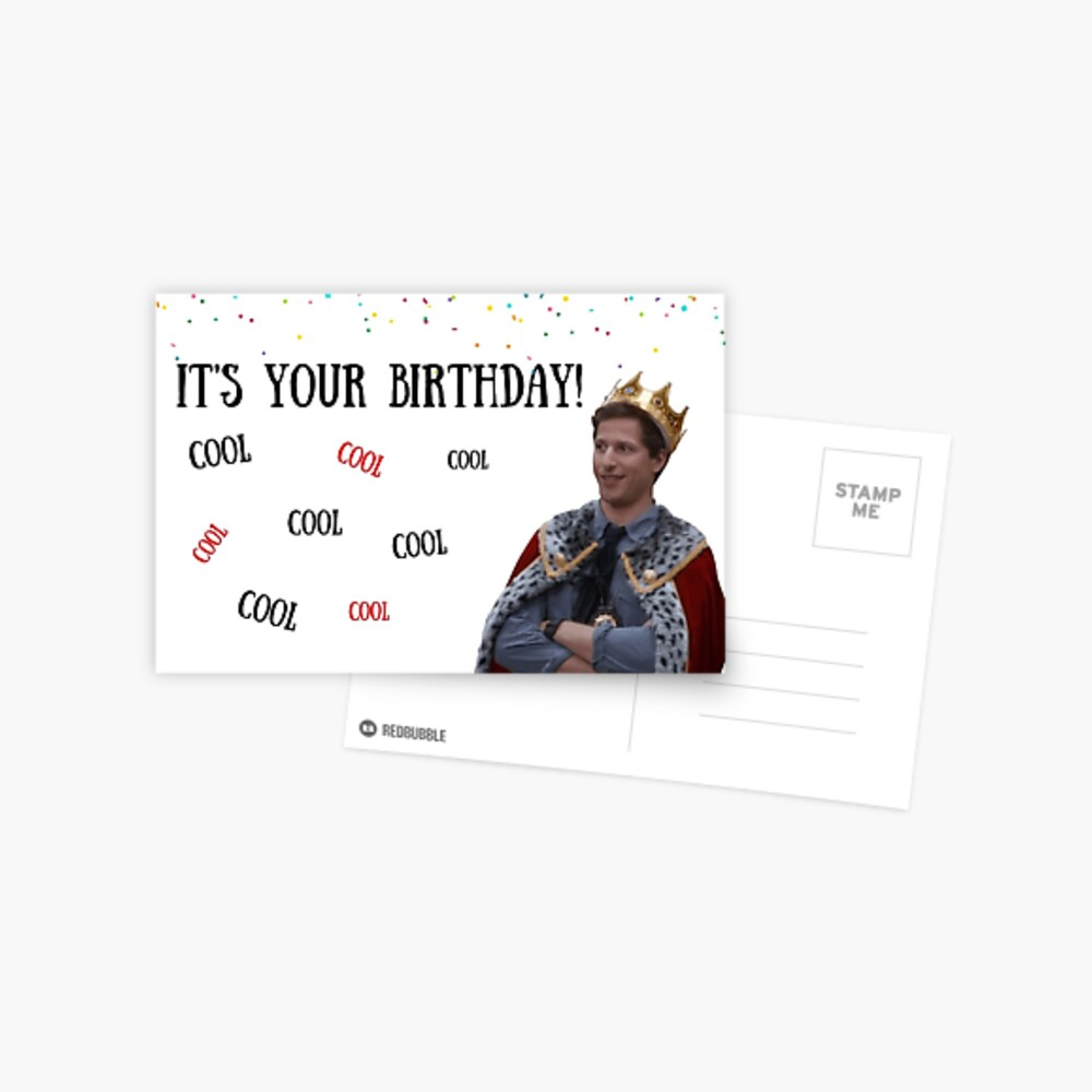 Brooklyn Nine Nine, tarjeta de cumpleaños Andy Samberg, Cool Cool Cool .. meme tarjetas de felicitación Postal