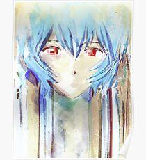 Póster Ayanami Rei Evangelion Anime Tra Pintura Digital