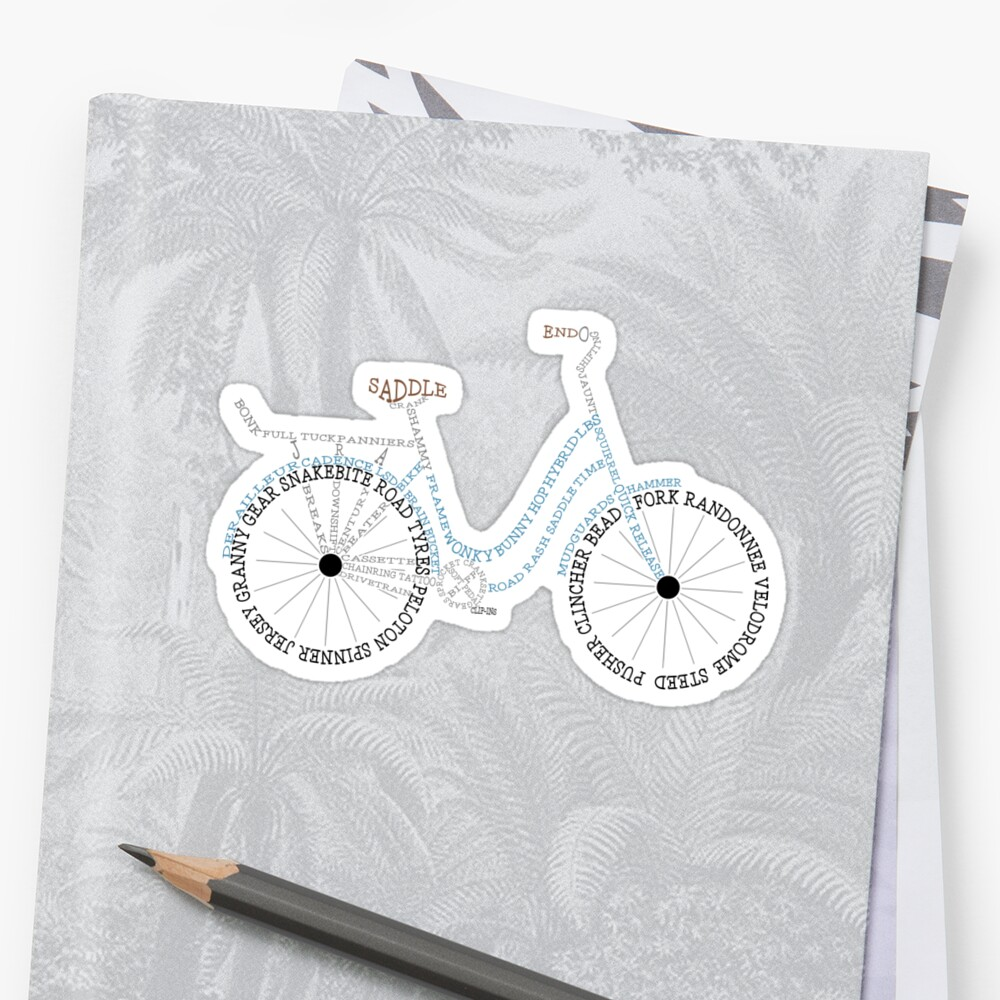 Bicycle Bike Calligram, Cycling Terminology by gamefacegear