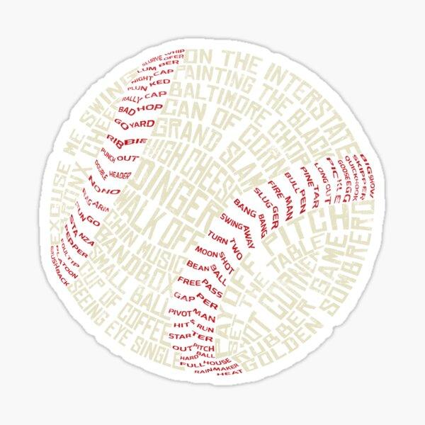 Baseball, Softball, Tyopgraphic, Terminology Sticker