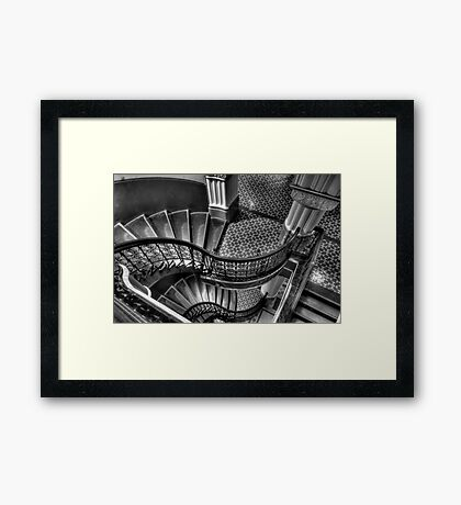 Vertigo - QVB Building  (Monochrome)- The HDR Experience  Framed Print