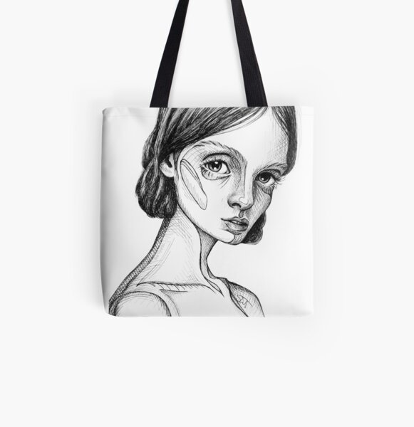 Meet Cecile - portrait of a thinker #2 – black and white ink drawing All Over Print Tote Bag