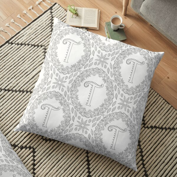 Letter T Black And White Wreath Monogram Initial Floor Pillow