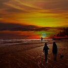Strolling The Beach At Olon by Al Bourassa