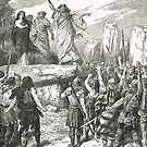 Druids inciting Britons against the Romans.  Roman conquest of Britain 43–84 AD by artfromthepast