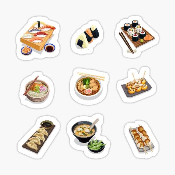 9 Japanese dishes Stickers pixel art Sticker