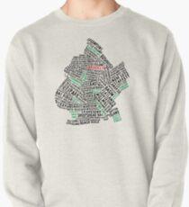 Brooklyn New York Typography Map Pullover Sweatshirt