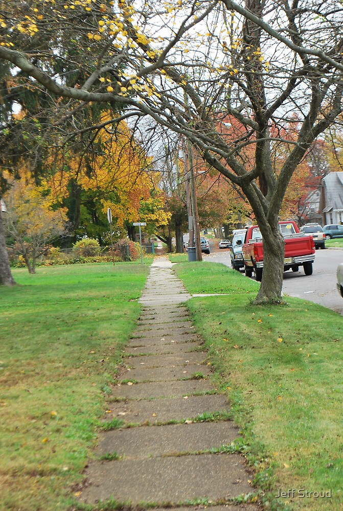 down the walk  (Suburban fall II)  by Jeff stroud