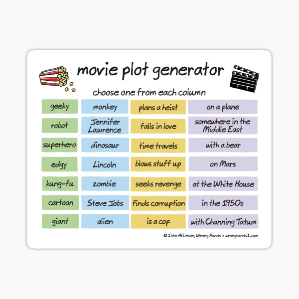 movie plot generator Sticker