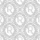 Letter R Black And White Wreath Monogram Initial by theartofvikki