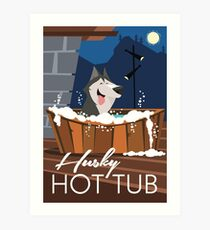 Husky Hot tub poster Art Print