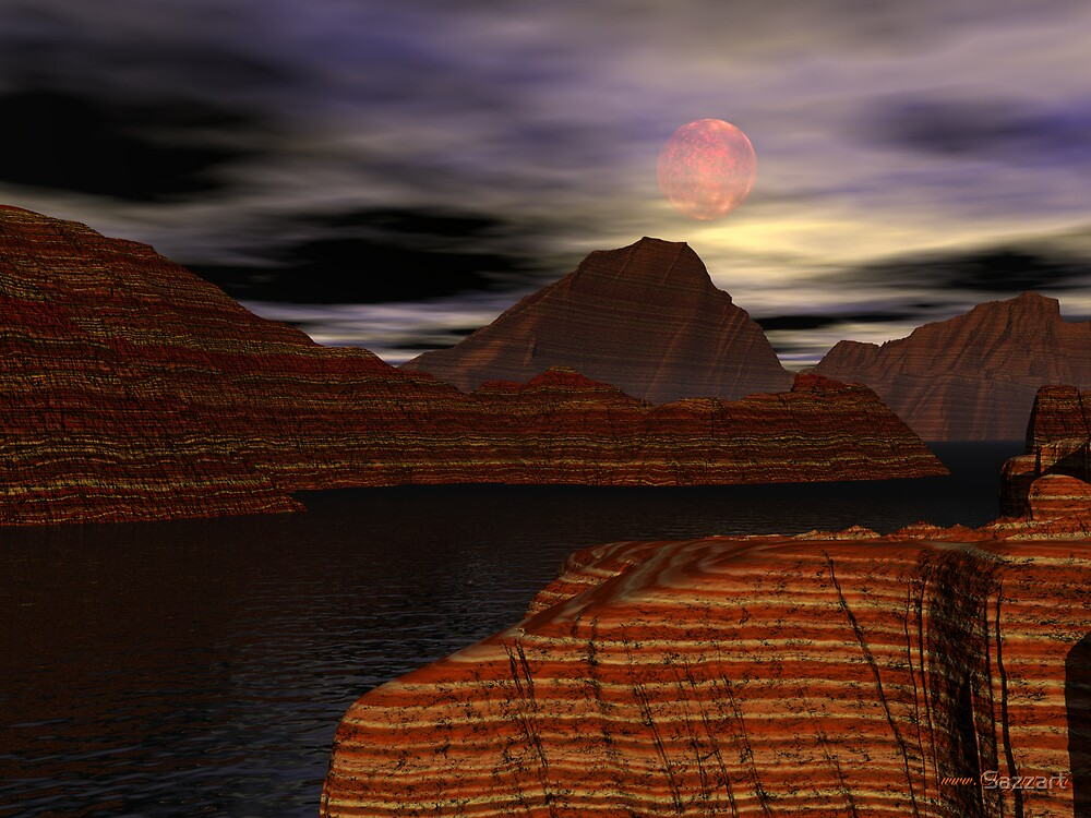 Hunter's Moon over Mirage Canyon by Sazzart