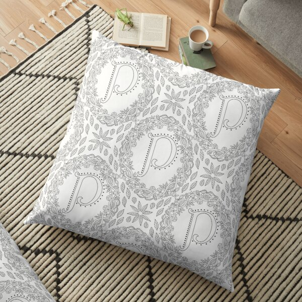 Letter P Black And White Wreath Monogram Initial Floor Pillow