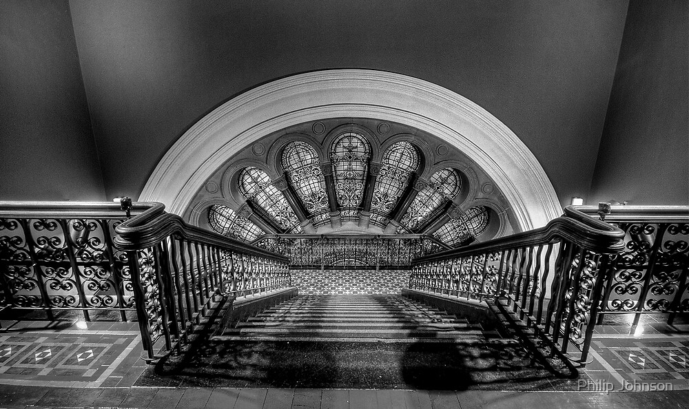 Stairway To Heaven  (Monochrome) - QVB, Sydney - The HDR Experience by Philip Johnson