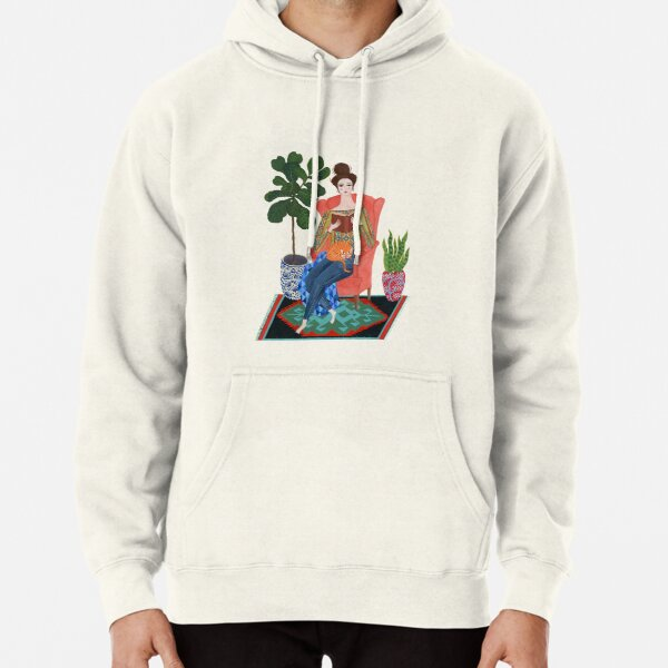 Cat lady reading Pullover Hoodie