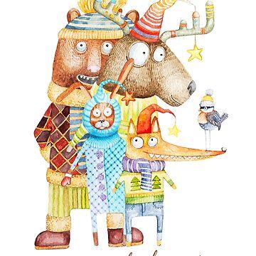 Merry Christmas Woodland Animals by Ruta
