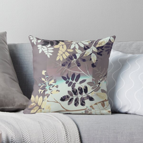 Interleaf - gray Throw Pillow