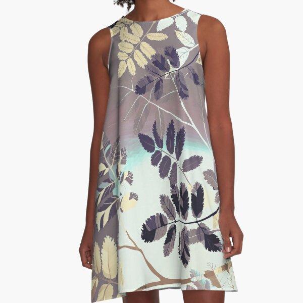 Interleaf - grey A-Linien Kleid