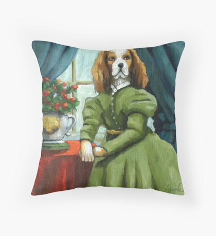 Lady Lenore - Dog portrait - oil painting Throw Pillow