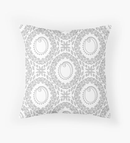 Letter O Black And White Wreath Monogram Initial Floor Pillow