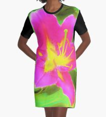 Dramatic Deep Pink and Yellow Lily on Green Graphic T-Shirt Dress