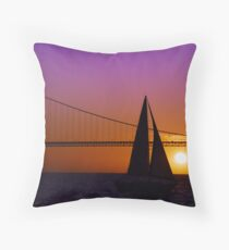 Sailboat Sunset on the Bay Throw Pillow